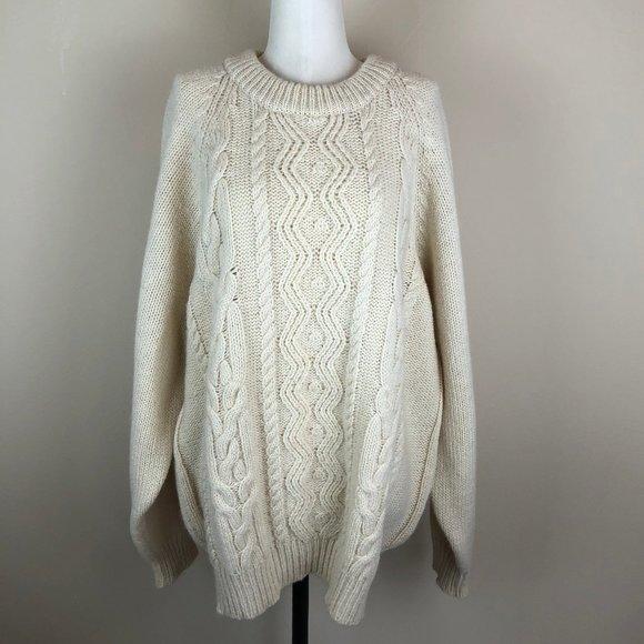Calf of Man Wool Oversized Fisherman Sweater